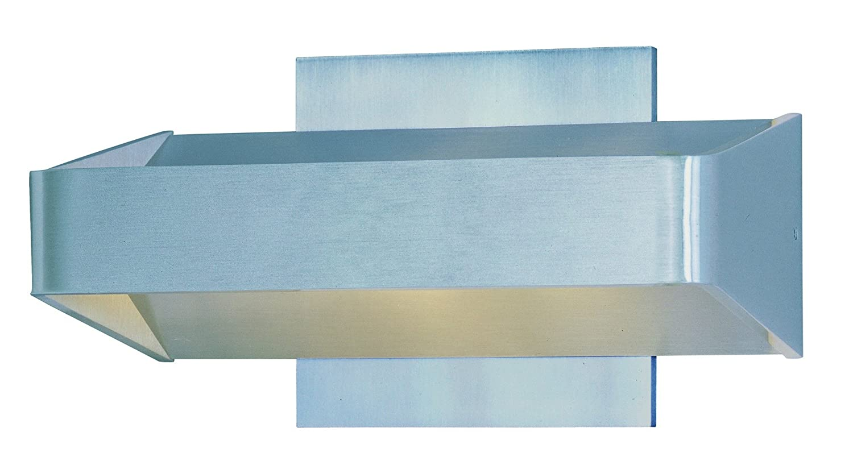 et2 e41304-sa Alumilux LEDアウトドア壁取り付け用燭台、サテンアルミニウム仕上げ、ガラス、PCB LED電球, 60 W最大、濡れ安全定格、3000 K Color Temp。、シェード素材、1200定格ルーメン B00E0KJRS2
