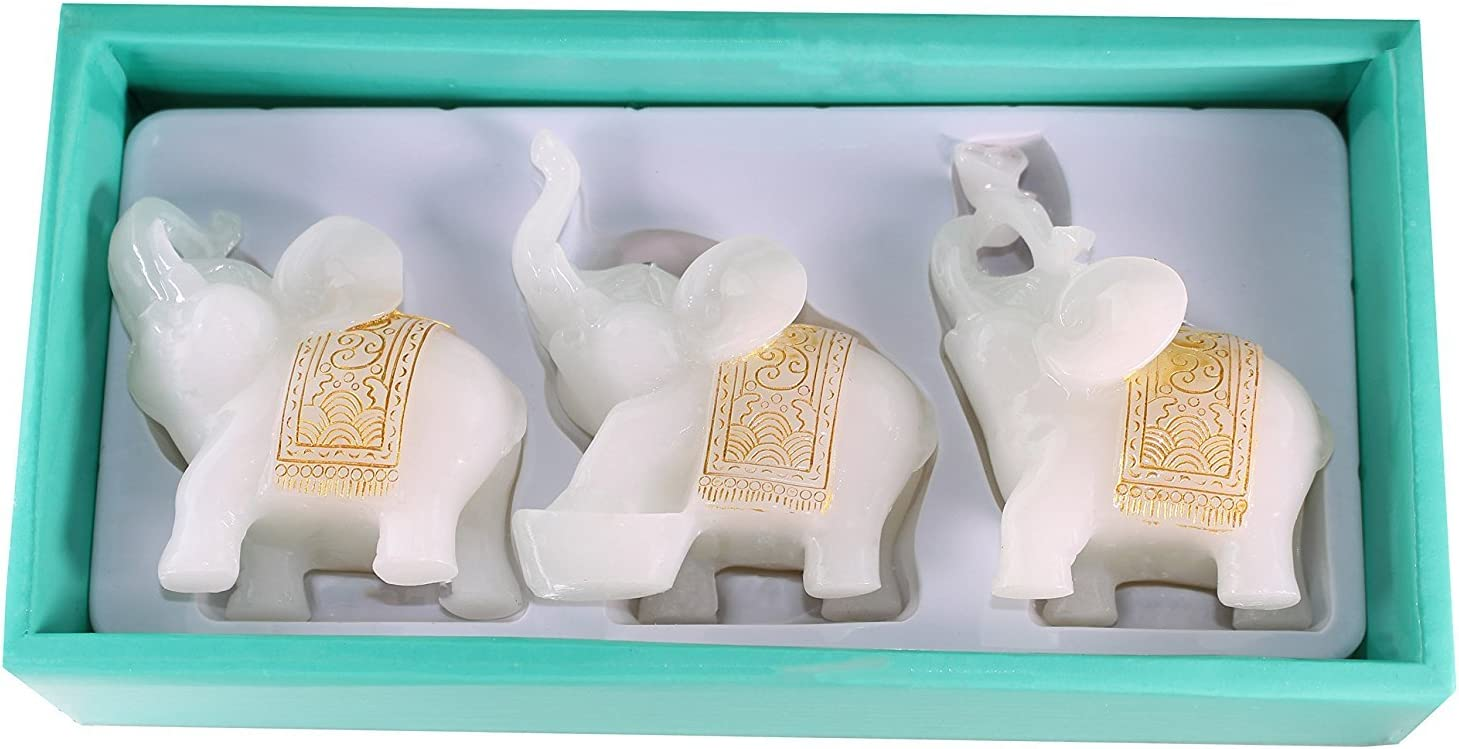 We pay your sales tax Feng Shui Set of 3 Elephant Statues Wealth Lucky Figurines Home Decor Housewarming Congratulatory Gift (White Jade)