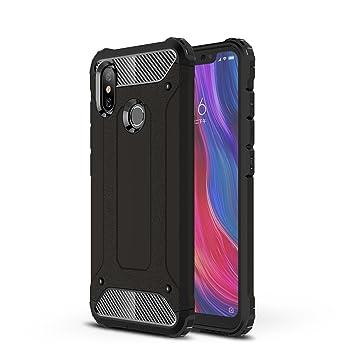 AOBOK Funda Xiaomi Mi 8, Doble Capa Híbrida Armor Funda Shock-Absorción Armadura Proteccion Carcasa para Xiaomi Mi 8 Case (Negro)