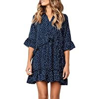 MITILLY Women's V Neck Ruffle Polka Dot Pocket Loose Swing Casual Short T-Shirt Dress
