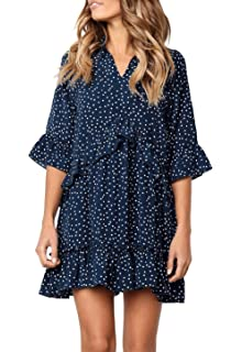 5ddc483774c2 MITILLY Women s V Neck Ruffle Polka Dot Pocket Loose Swing Casual Short  T-Shirt Dress
