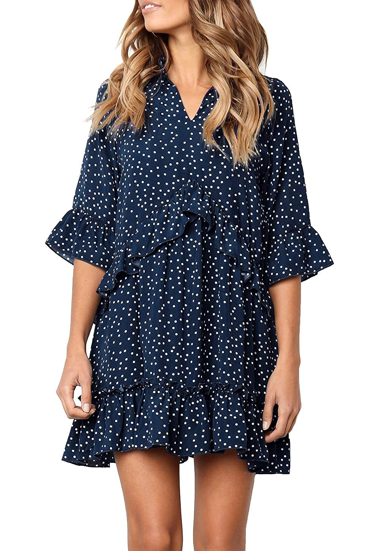 bfcf6ca72888 MITILLY Women s V Neck Ruffle Polka Dot Pocket Loose Swing Casual Short T-shirt  Dress at Amazon Women s Clothing store