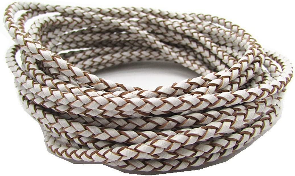 Black 3.0mm Round Folded Bolo PU Braided Leather Cord for Necklace Bracelet Jewelry Making 5M