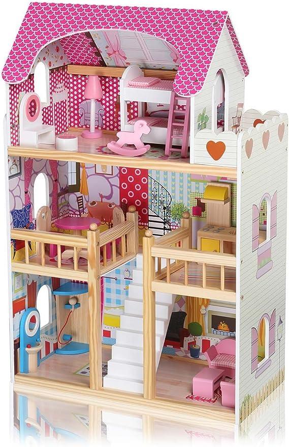 Baby Vivo Casa de Muñecas de Madera con Miniatura Muebles Escalera Ascensor Sueño Mansion para los Niños - Rosalie: Amazon.es: Hogar