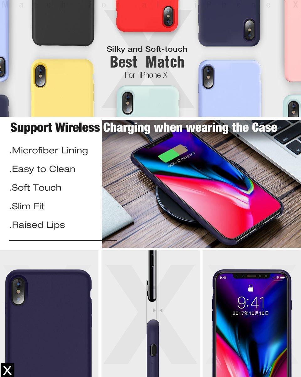 El /último Verano iPhone X Funda 5.8 Slim L/íquido de Silicona Gel Carcasa Anti-Rasgu/ño y Resistente Huellas Dactilares Totalmente Protectora Caso Cover Case para iPhone X Rosa Arena