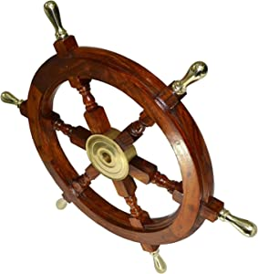"Vintage Armour Store Ship Wheel Wooden 24"" Ship Wheel Nautical Boat Pirate Home Decor"