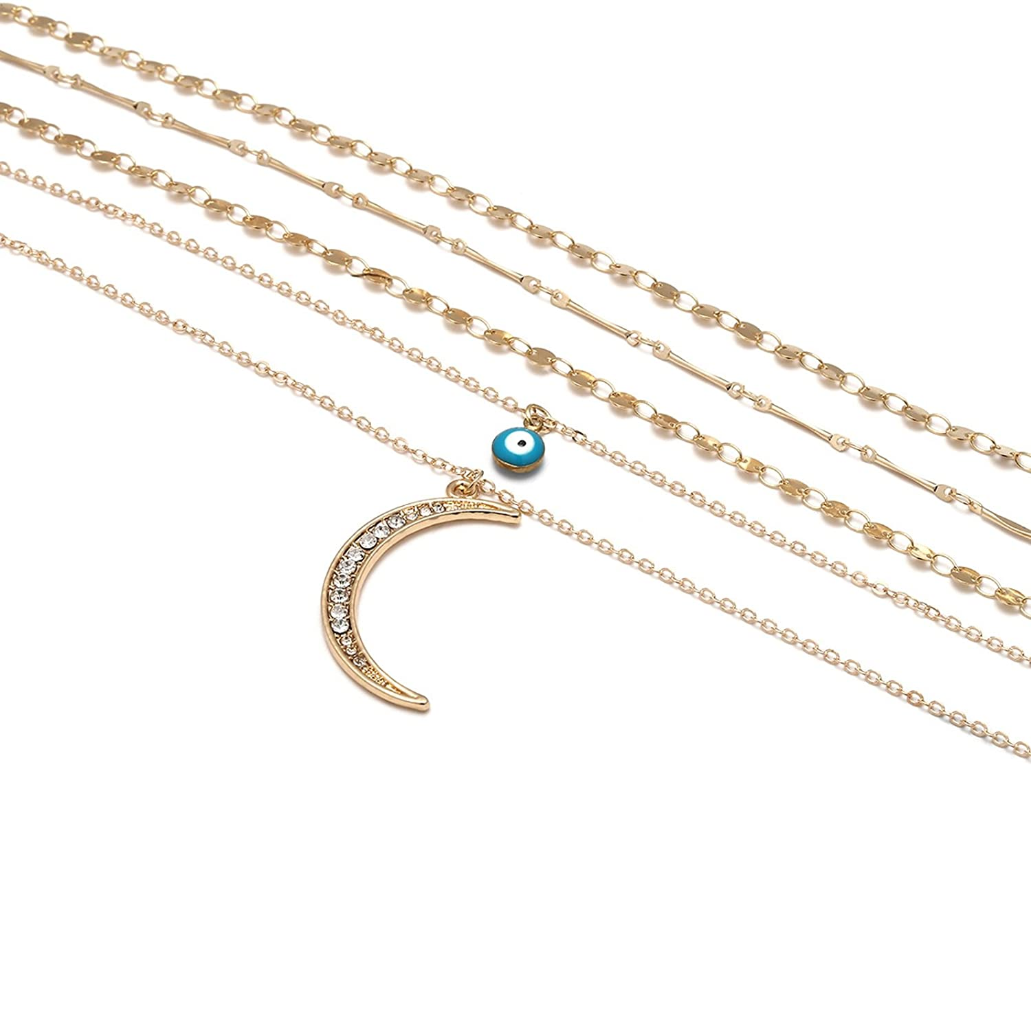 Bishilin Gold Necklace for WomenClavicle Necklace Choker Multilayer Pendant Chain Sequins Chain Cubic Zirconia Moon Eye
