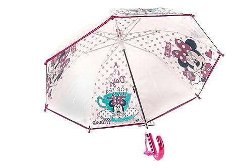 PERLETTI DISNEY MINNIE Paraguas niña largo rosa PVC trasparente LOGATO Q753