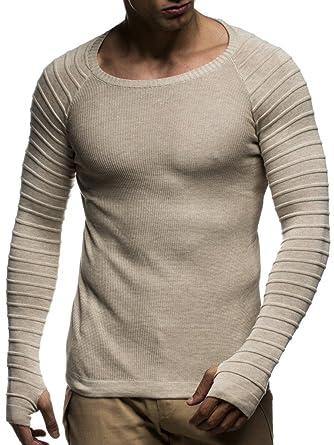 f8ad581d4aa1 LEIF NELSON Herren Pullover Sweatshirt Longsleeve Hoodie Strickpullover  Biker-Style Gesteppt Rundhals Crew Neck Langarm