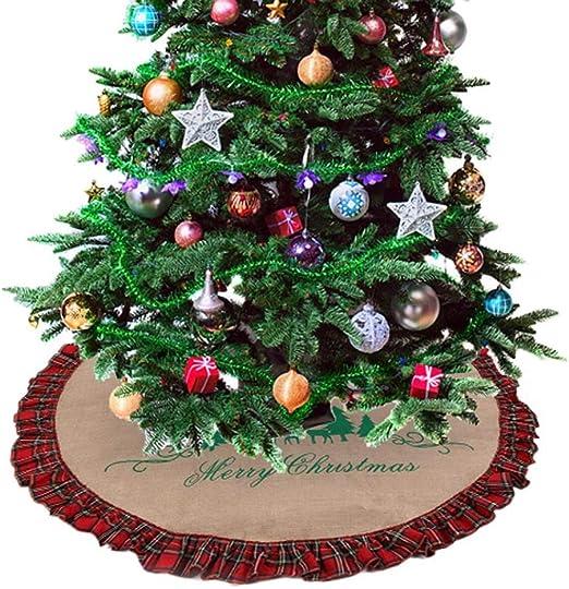 Falda del árbol de Navidad de la Red de arpillera Negro a Cuadros ...