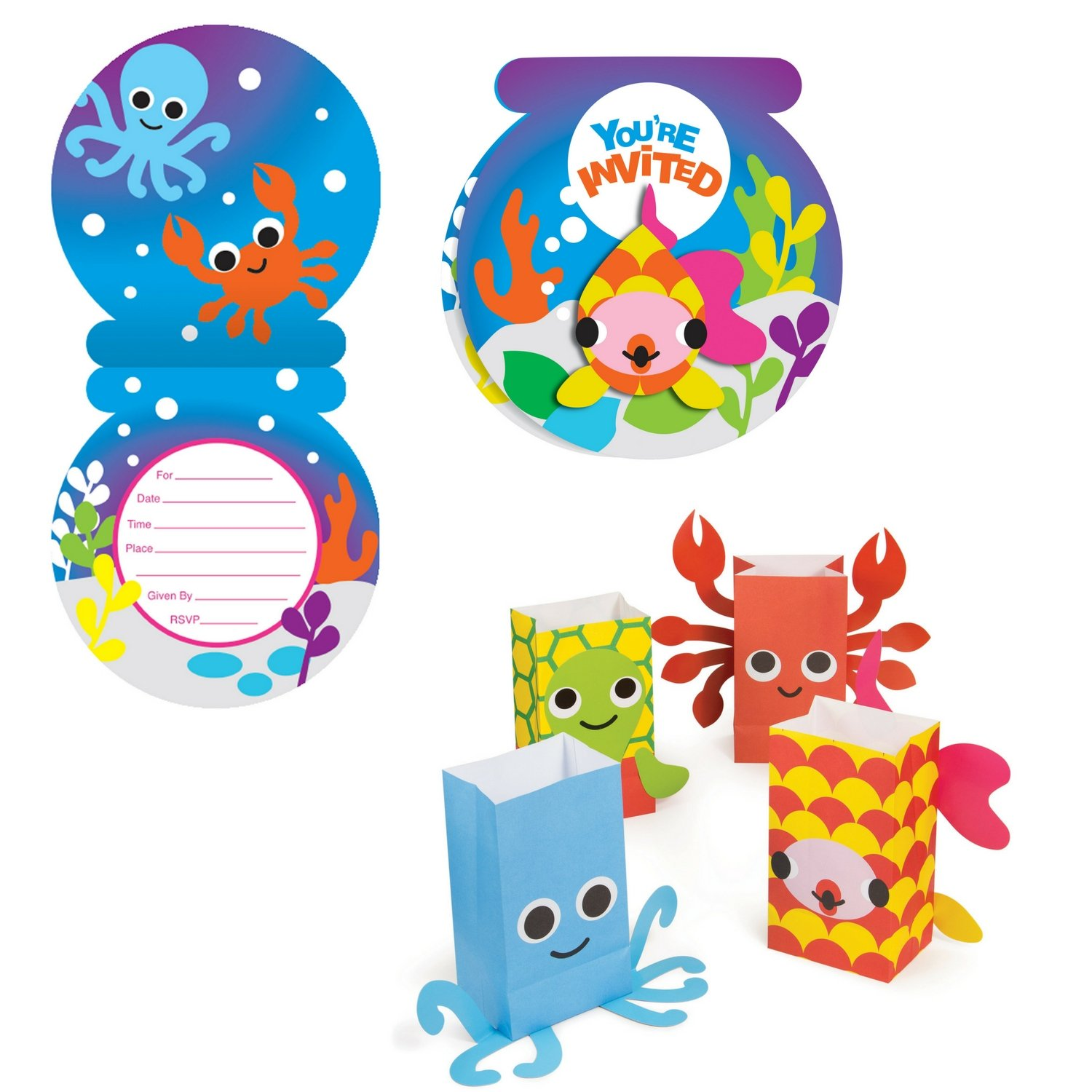Ocean Party by French Bull Invitation and Treat Bag Bundle- 16 guests. First Birthday, Pool Party, Beach Party, Under the Sea Party, Ocean Party, Ocean Animal Party,