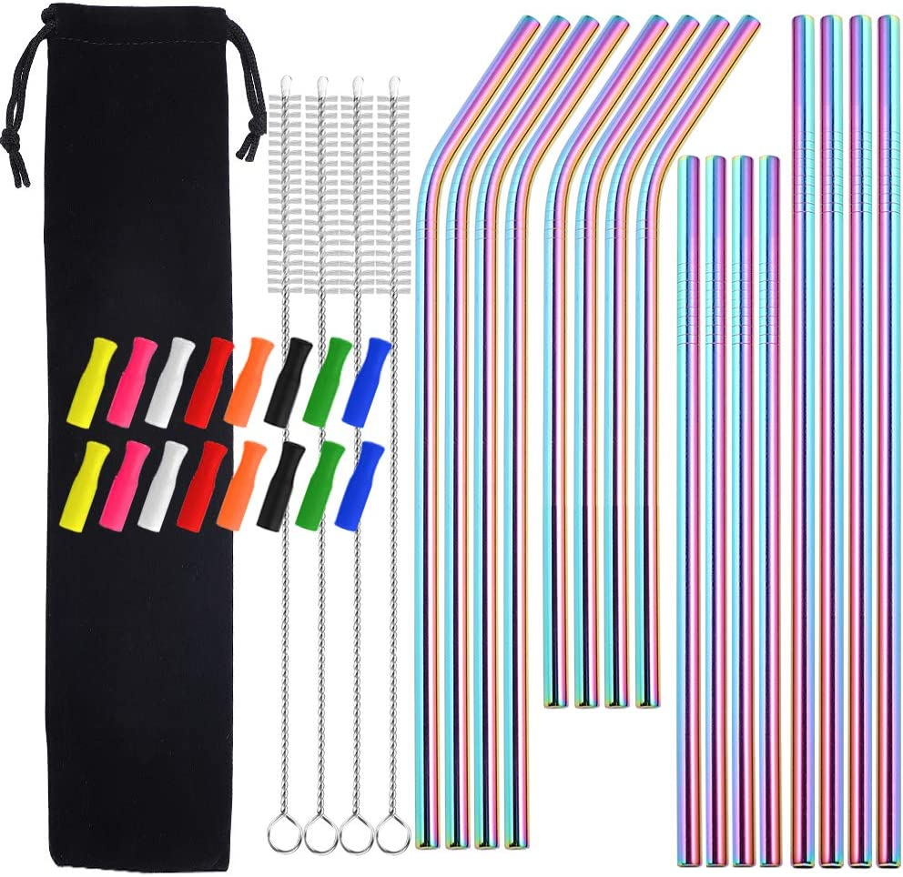 Metal Courier shipping free Straws with Silicone Tip 8.5