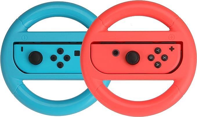 AmazonBasics - Volante para Nintendo Switch - Azul/Rojo (pack de 2 ...