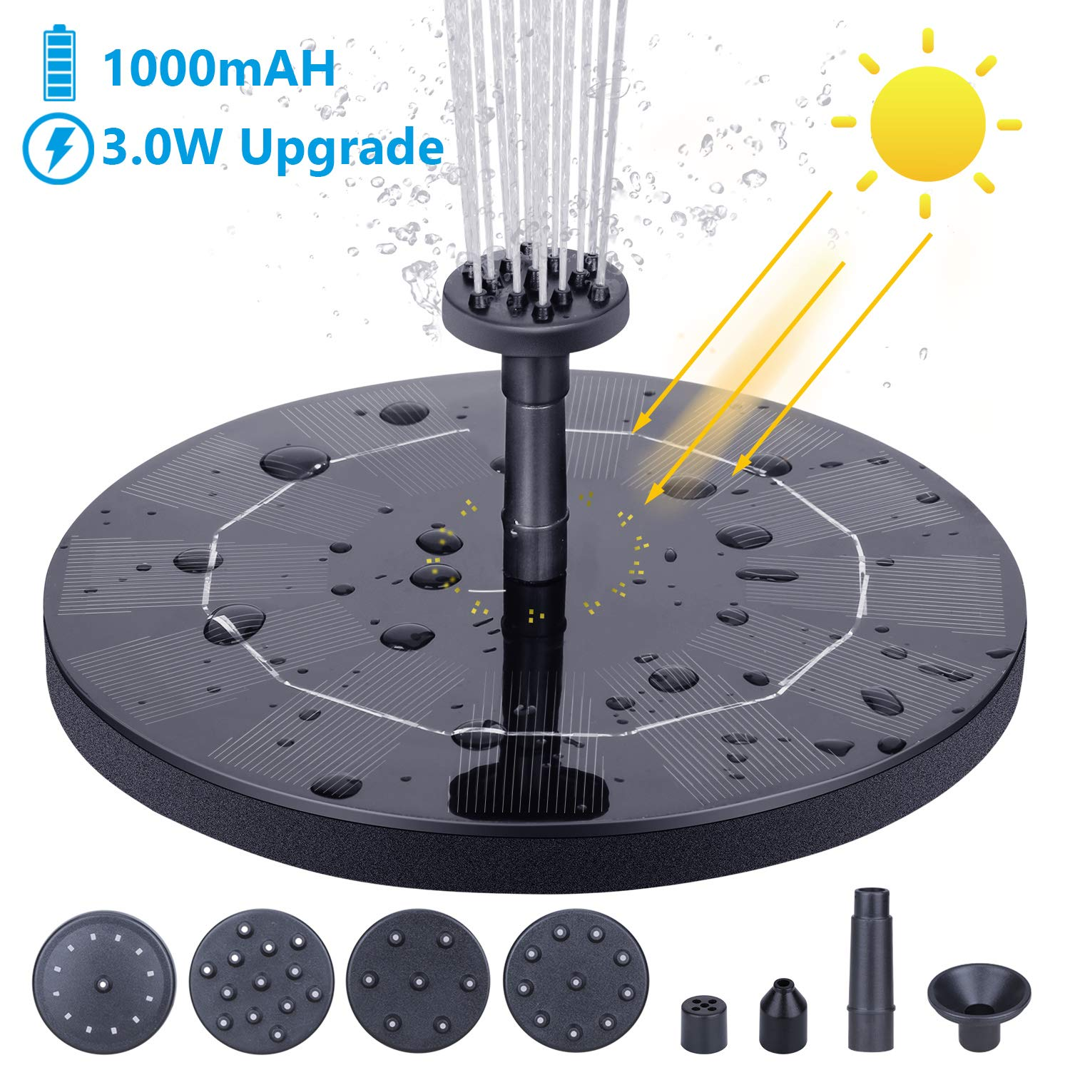AISITIN Solar Fountain Pump, 3.0W Circle Solar Water Pump Floating Fountain Built-in Battery 1000mAh, with 6 Nozzles, for Bird Bath, Fish Tank, Pond or Garden Decoration by AISITIN