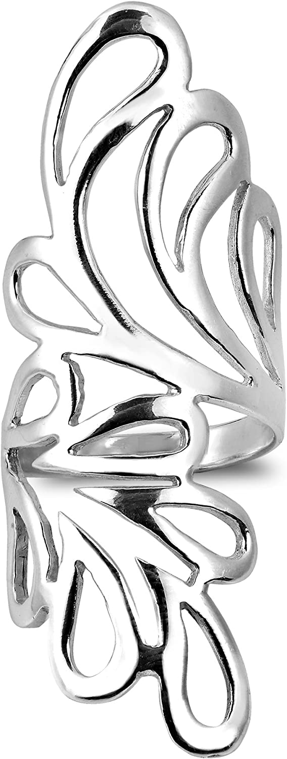 AeraVida Abstract Nature's Hug Wide Wings Wrap .925 Sterling Silver Ring