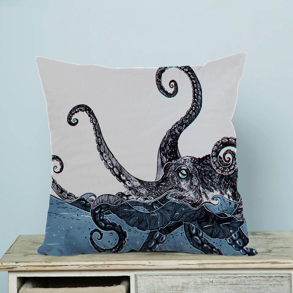 Advanced technology Printed Popular Creative Octopus Custom Zippered Pillow Cases 18x18 inches(Two sides) LOVEIOAXKJ