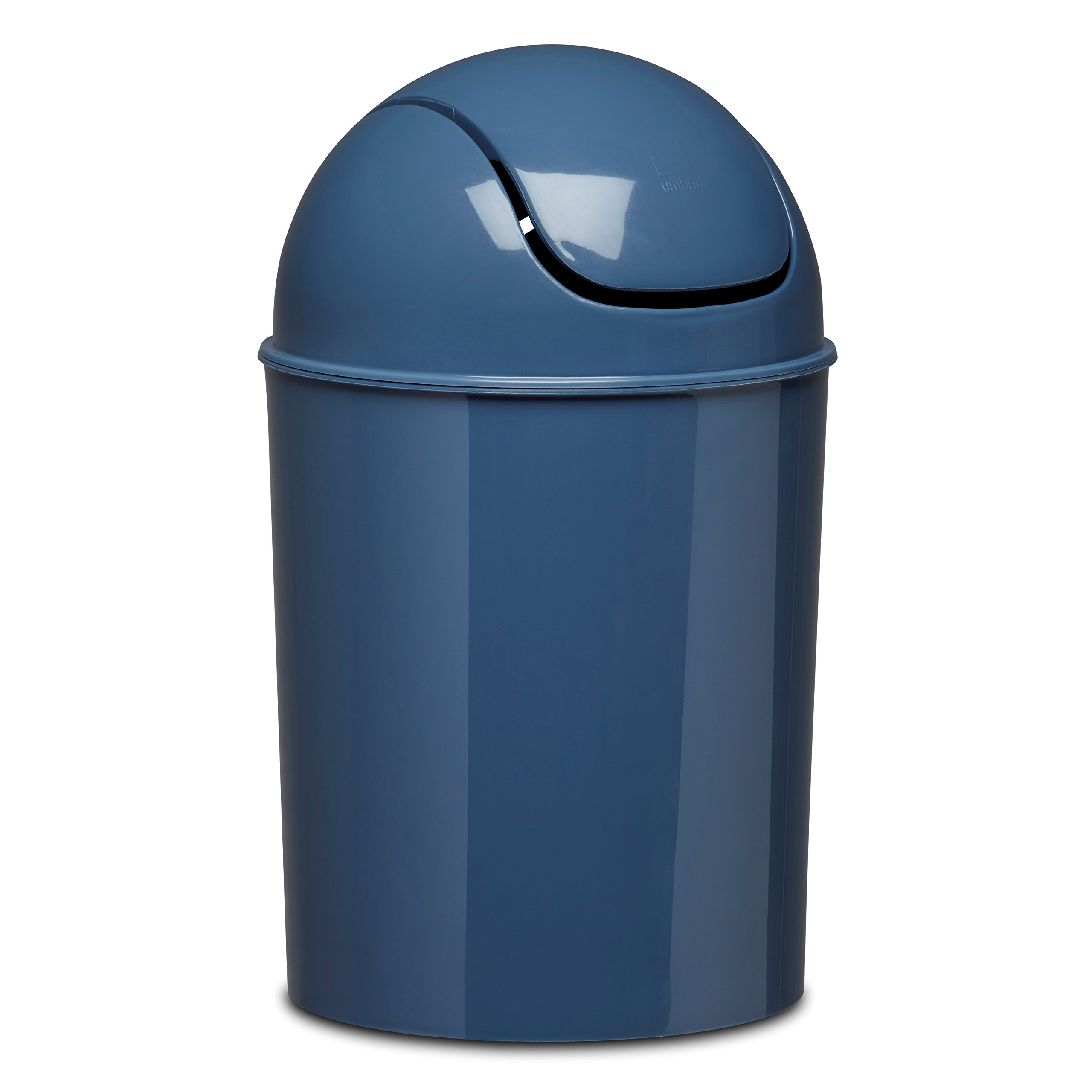 Blue small waste basket trashcan lid bin garbage bathroom for Waste baskets for bathroom