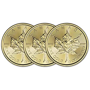 CA 2019 Canada Gold Maple Leaf (1/2 oz) THREE 3 Brilliant