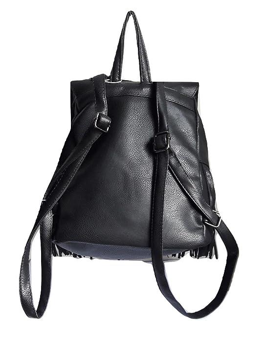 f833599f63 NoBrand/Generico zaino donna ecopelle nero zainetto frange borsa backpack  vintage pelle sfrangiato casual: Amazon.it: Scarpe e borse