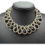 AWAYTR  Ladies Chunky Choker Necklace Gold Tone Fashion Statement Big Translucent Crystals