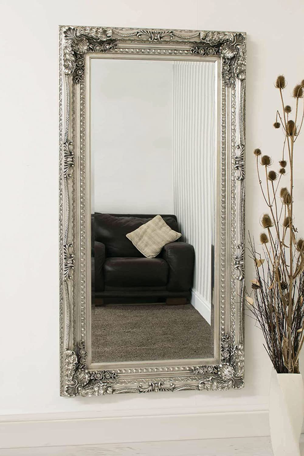 Carved Louis Leaner Mirror Colour: Silver Barcelona Trading