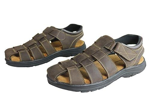 4aa4a4236d5 Woodlands Legion Mens Comfortable Cushioned Closed Toe Leather Sandals  Brown  Amazon.com.au  Fashion