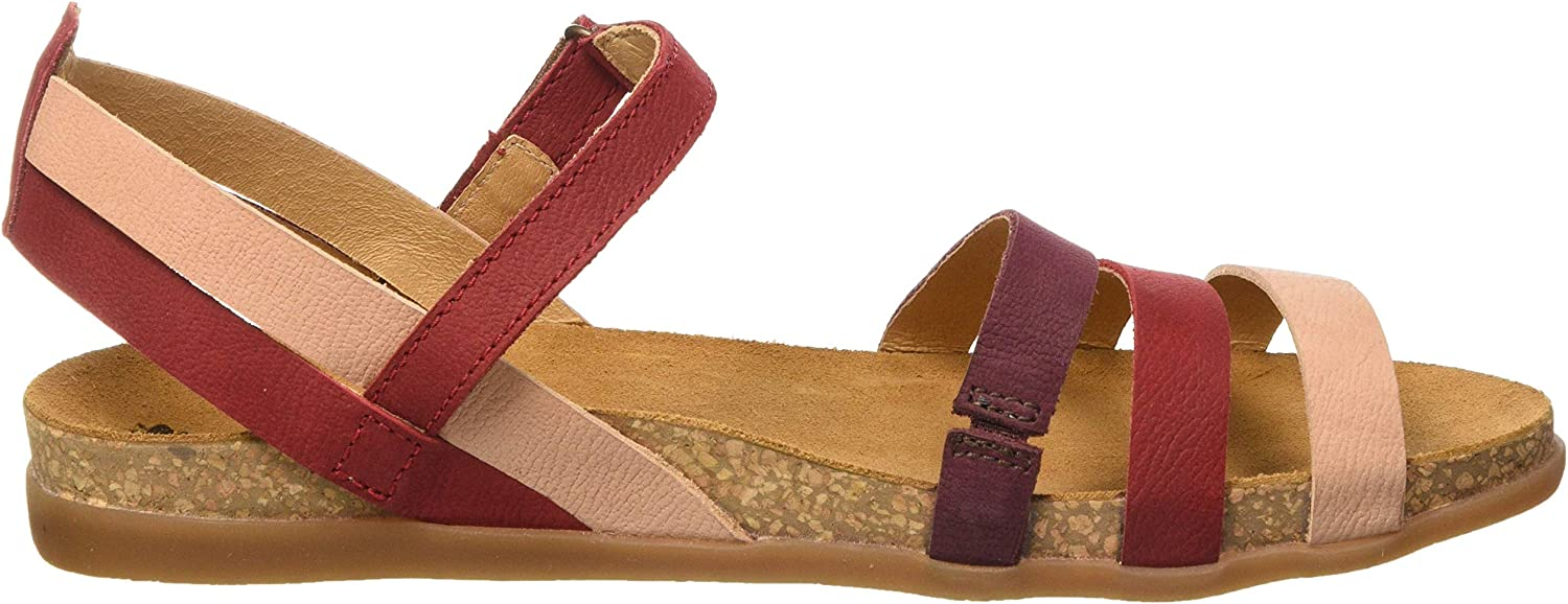 El Naturalista Multi Leather Zumaia, Sandales Bout Ouvert Femme Rouge Tibet Mixed Tibet Mixed