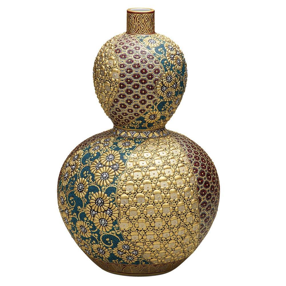 九谷焼 陶器 花瓶 本金盛割取小紋 BK5-1364 B076VG9CTB