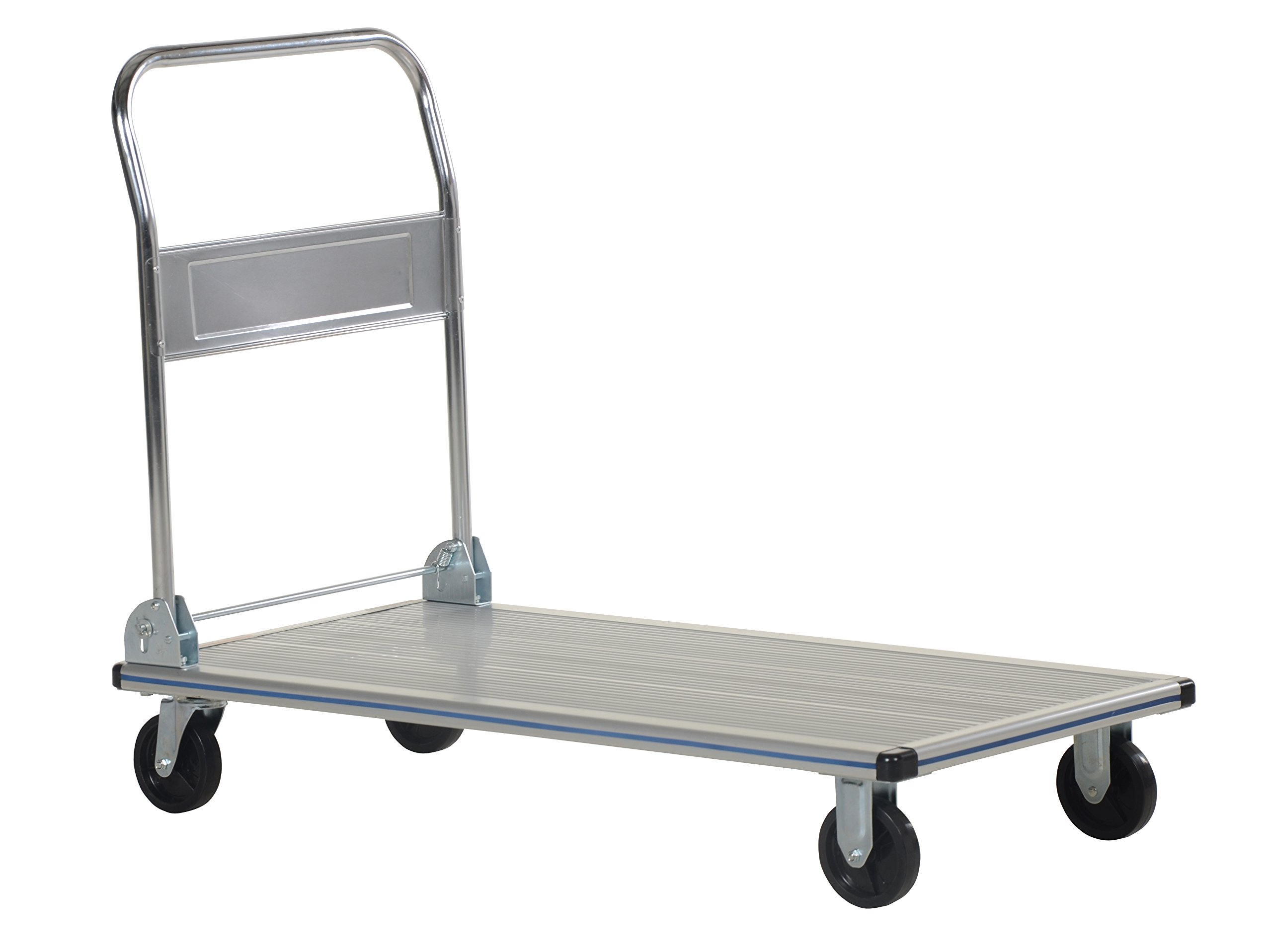 Vestil AFT-48-NM Aluminum Folding Platform Truck with Single Handle and 5'' Non-Marking Polyurethane Casters, 600 lbs Capacity, 48'' Length x 24'' Width x 8-3/8'' Height