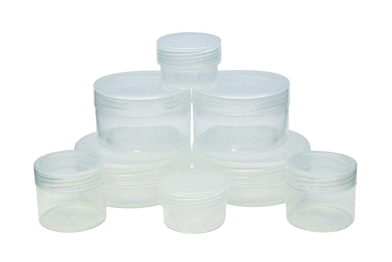 Bocaux réutilisables pour crèmes, produits cosmétiques et liquides. Idéal pour le transport en avion. Conforme à la réglementation des b (2 x 10grm, 2 x 15grm, 2 x 50grm, 2 x 55grm)