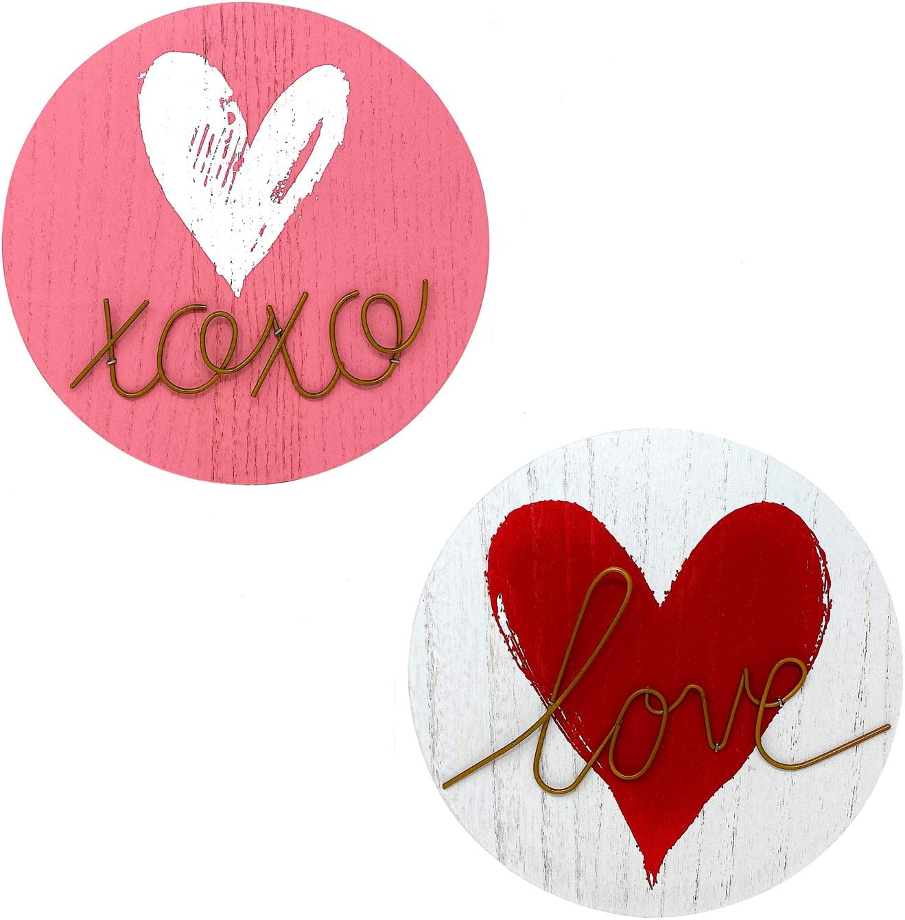 STC World S/2 Love and Hugs & Kisses Signs W Heart Valentines Day Wall Door Home Room Hanging Decor Wood & Metal 10