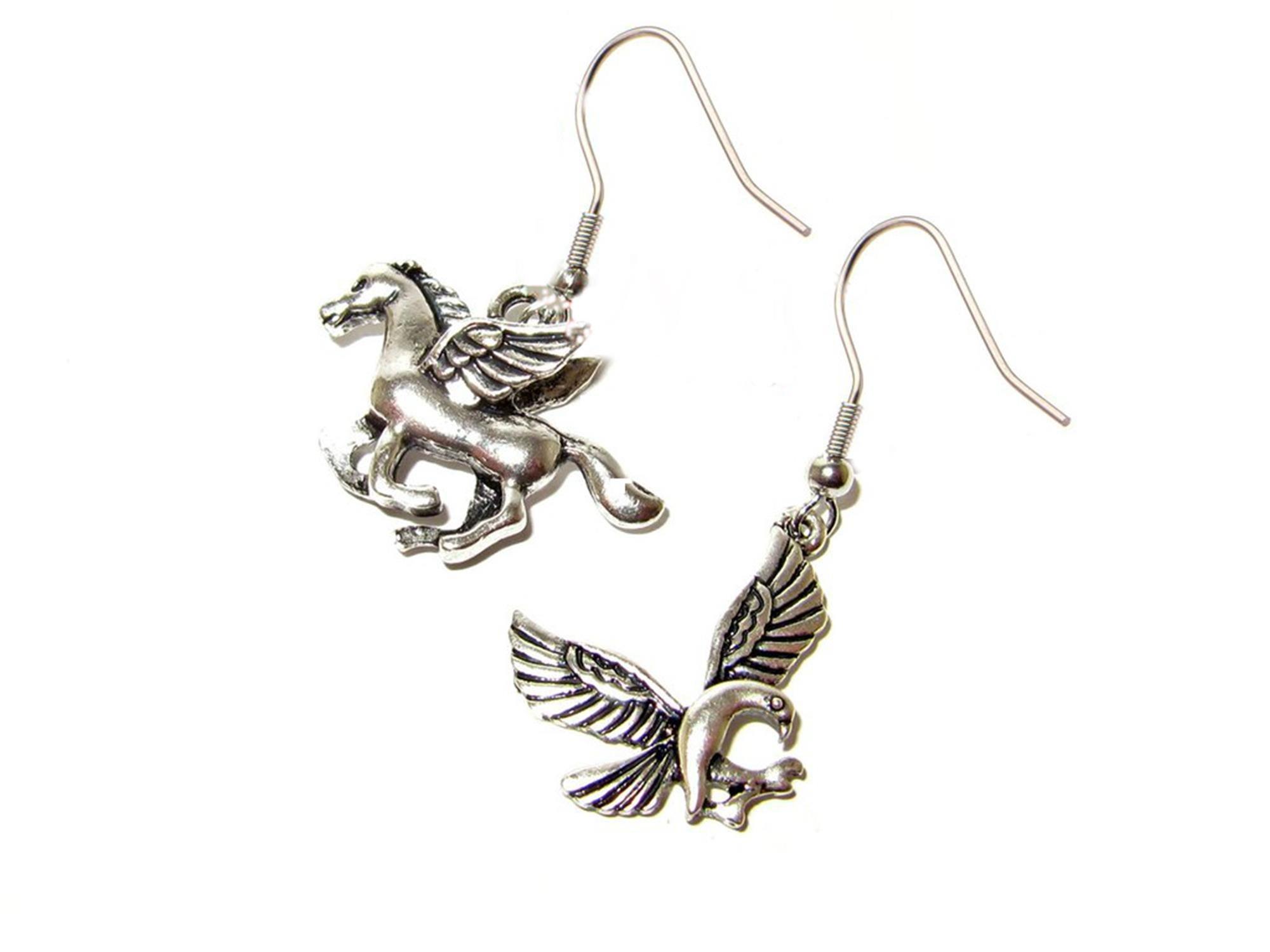 Outlander Percy Jackson Pegasus & Phoenix Earring Dangles In Gift Box