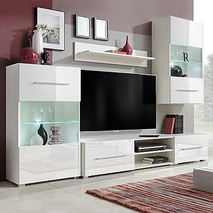 Festnight- Mobile Soggiorno/unità Mobile Vetrina TV a Parete Illuminazione  LED Bianco 5 Pz