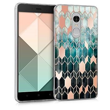 kwmobile Funda para Xiaomi Redmi Note 4 / Note 4X - Carcasa de TPU para móvil y diseño de rombos en azul / oro rosa