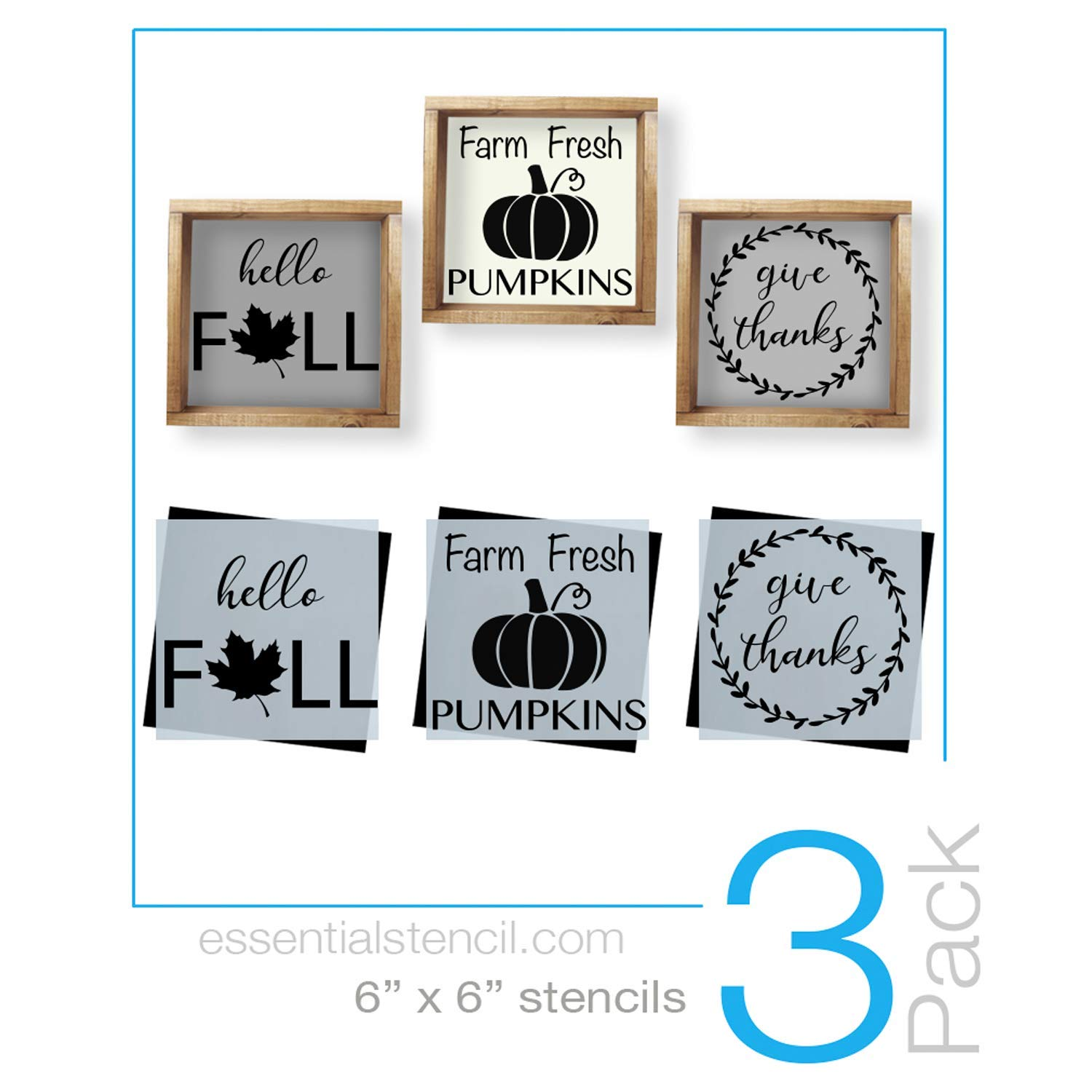 Give Thanks, Farm Fresh Pumpkins, Hello Fall Stencil Set | Reusable Sign Stencils for Painting on Wood | 3 Pack | Ideal for Wood Signs, Walls, Furniture (DIY Fall Home Decor)