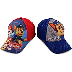 Nickelodeon Little Boys Paw Patrol Character Cotton Baseball Cap, 2 Piece Design Set, Age