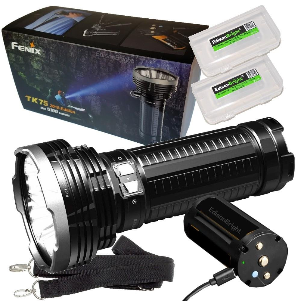 FENIX TK75 5100 Lumen 2018 Edition 4 CREE LED Flashlight / Searchlight with 2 X EdisonBright BBX3 battery carry cases bundle