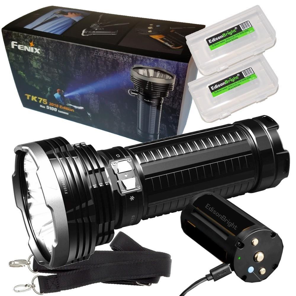 FENIX TK75 5100 Lumen 2018 Edition 4 CREE LED Flashlight / Searchlight with 2 X EdisonBright BBX3 battery carry cases bundle by EdisonBright (Image #1)
