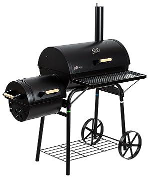 El Fuego Barbacoa de carbón y leña Smoker Dakota negro, 122 x 133 x 66