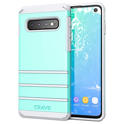 S10 Case, Crave Strong Guard Heavy-Duty Protection Series Case for Samsung Galaxy S10 - Mint/Grey