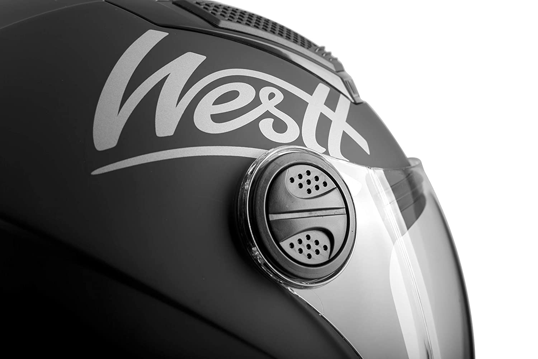 Westt Jet Open Face Helmet for Motorbike//Moped /& Scooter in Matte Black with Removable Visor ECE Certified