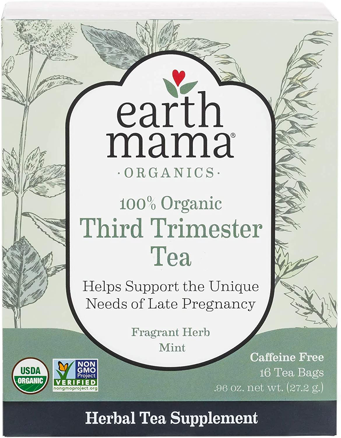 Earth Mama Organic Third Trimester Tea Bags for Pregnancy Comfort and Childbirth Preparation, 16-Count