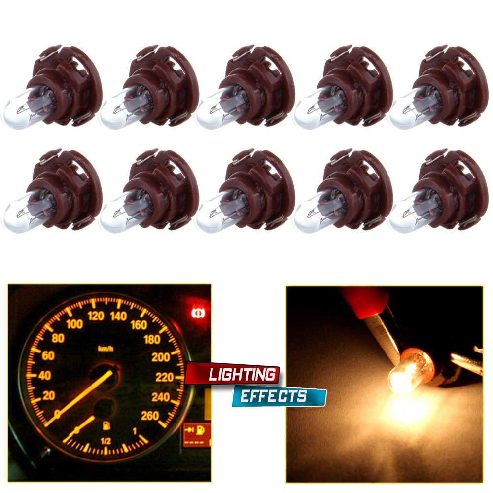 cciyu 10 Pack Warm White T5/T4.7 Neo Wedge Halogen Instrument Dash A/C Climate Control Bulbs 12V