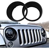 DIYTUNINGS Black Bezels Front Light Headlight Trim Cover for Jeep Wrangler JK JKU Unlimited Rubicon Sahara Sport Exterior Accessories Parts 2007 2008 2009 2010 2011 2012 2013 2014 2015 2016 2017