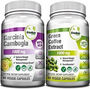 Amazon Com Garcinia Cambogia And Green Coffee Extract Natural Weight Management And Energy Booster Bundle 1000 Mg