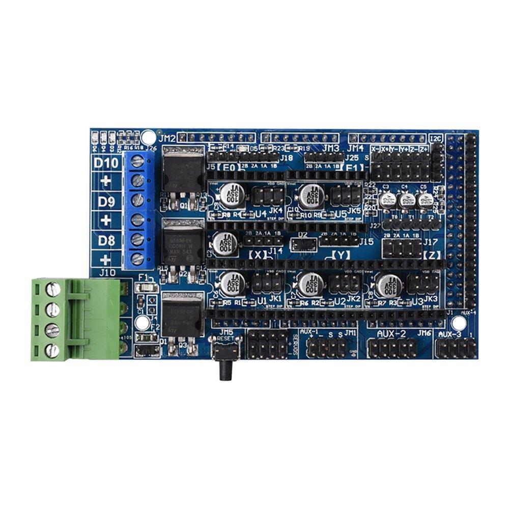 BIQU - Placa controladora RAMPS 1.5 para impresora 3D, compatible con la tarjeta Arduino de impresoras tipo RepRap Prusa, Mendel con placa RAMPS 1.4