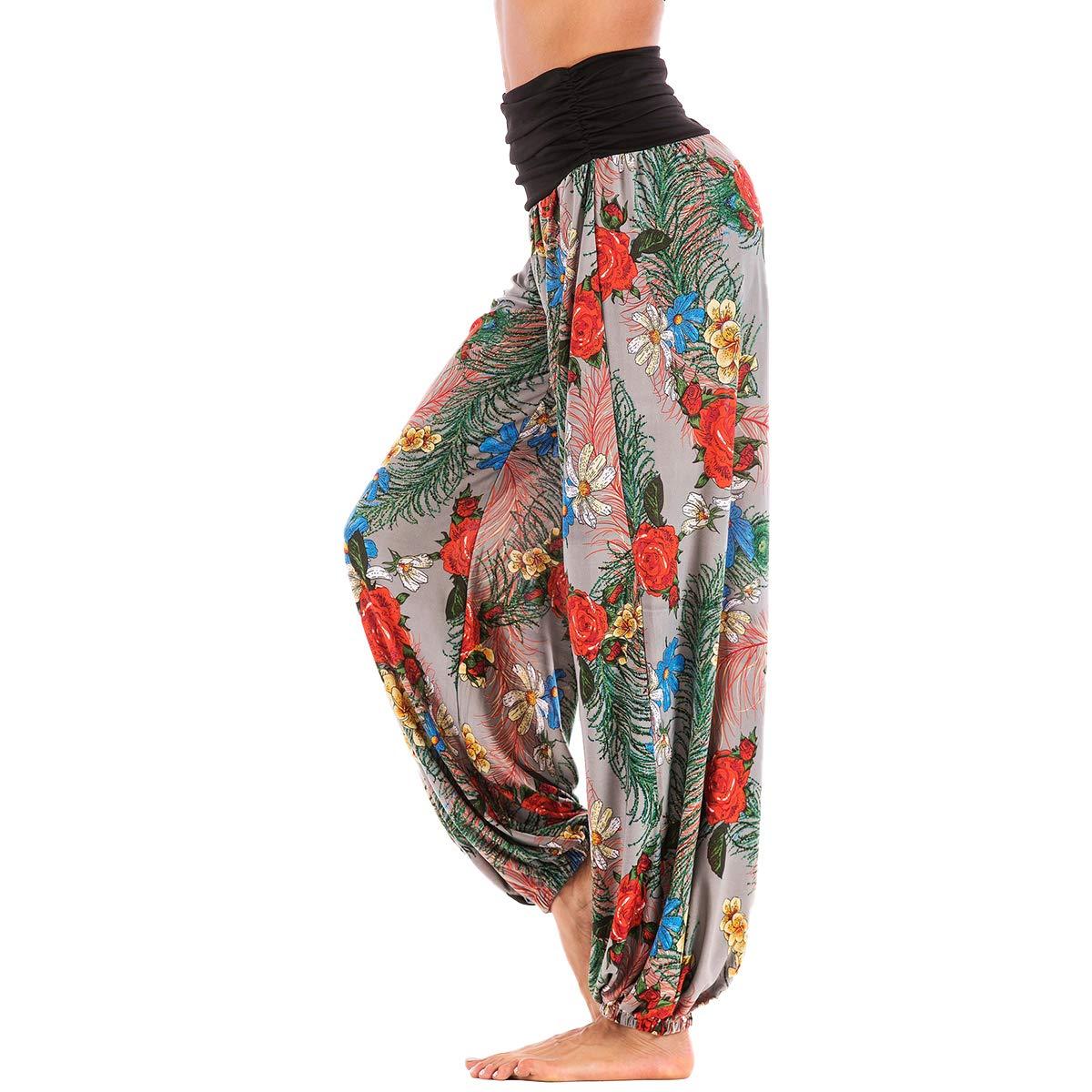 1a15e3616307e Amazon.com: Yoga Pants Women's Loose Baggy Harem Long Petite Floral Leopard  Smocked Waist Casual Hippie Flowy Palazzo Beach Trousers: Clothing
