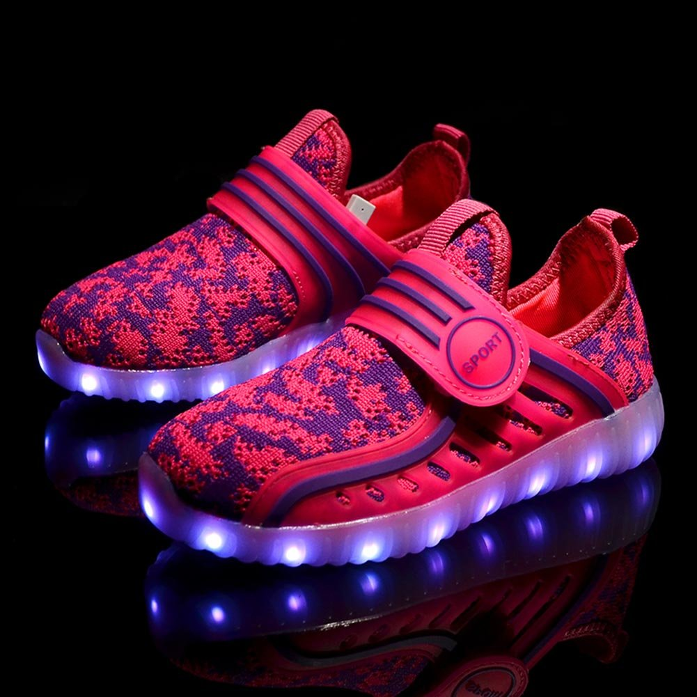 HXD Children Breathable 7 Colors LED Sport Shoes USB Rechargable Kid Shoes Led Lighted Sneakers
