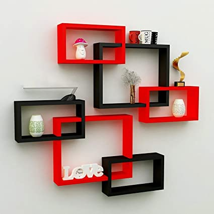 Santosha Decor 6 Piece Hexagon Shape Storage MDF Wall Shelf/Living Room Furniture