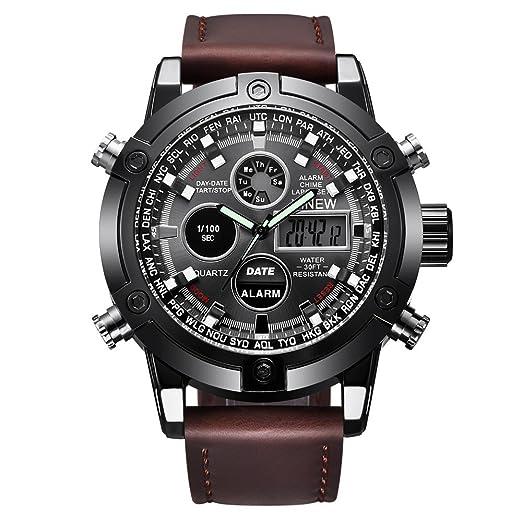 76deace7622e VEHOME Reloj Deportivo de Lujo para Hombres - Correa de Cuero - Pantalla  analógica Digital LED-Relojes relojero Inteligente Reloj reloje  hombresRelojes de ...